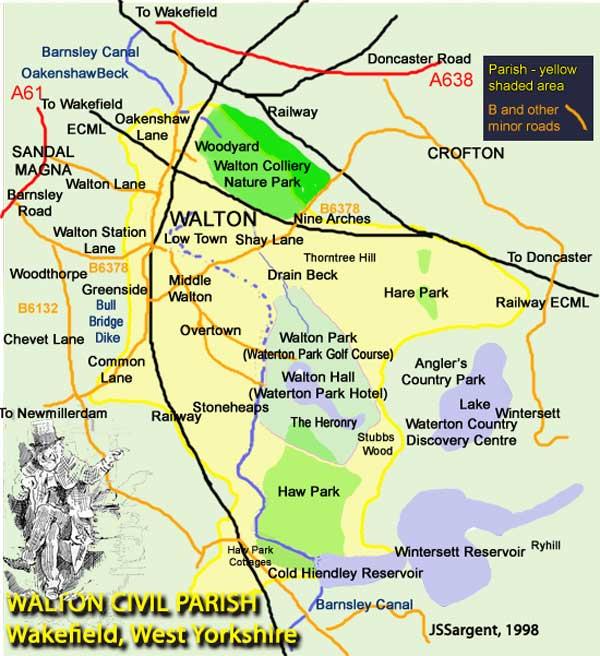 Outline Map of the Civil Parish of Walton